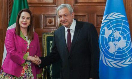 Recibe presidente López Obrador a presidenta de la Asamblea General de la ONU