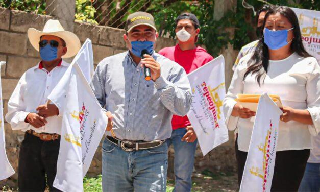 Manuel Gil da inicio a obra de adoquinamiento en Tepeojuma