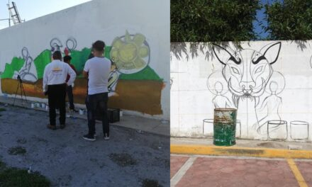 Grafiteros realizan murales para embellecer la unidad deportiva en Tepeojuma